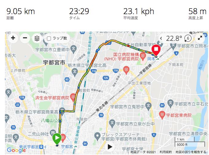 宇都宮から岡本へ自転車で